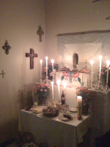 This was a Day of the Dead memorial dedicated to the family's ancestors and relatives that passed away.